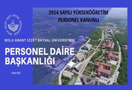 BAİBÜ 2914 Sayılı Yükseköğretim Personel Kanunu